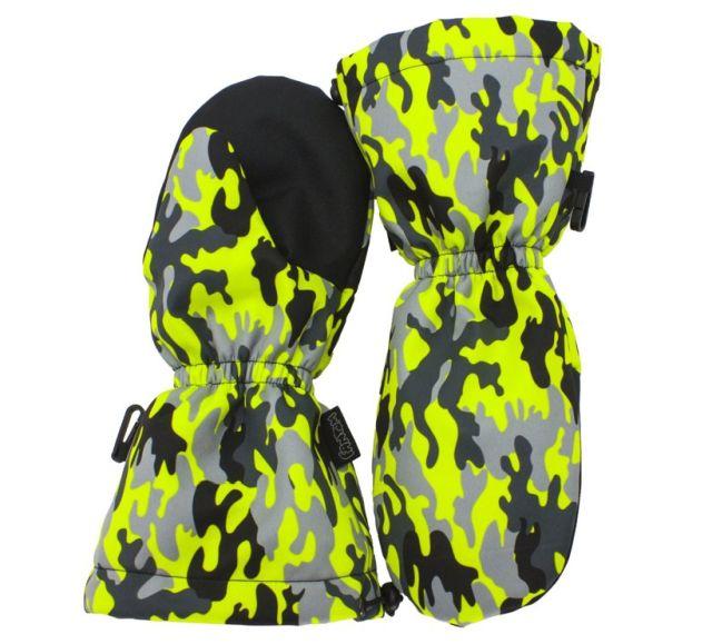 064b2dcc4 Dětské SNĚHOVÉ rukavice Fantom SOFTSHELL 30/15, signálně zeleno-žlutý maskáč