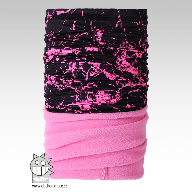 Šátek - nákrčník multi fleece vzor 20 (černo-růžový) 229ec90edb