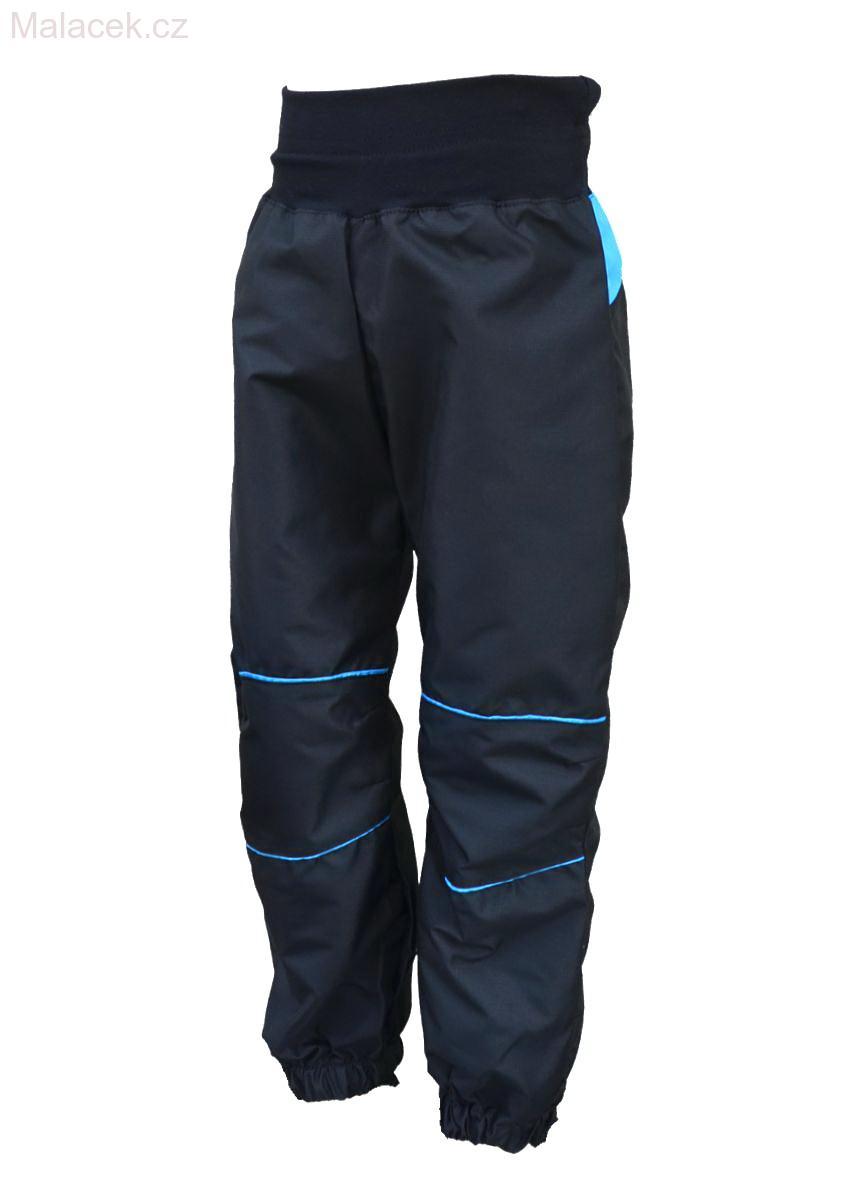 Dětské šusťákové kalhoty – černo-tyrkysová 02cebe2cae