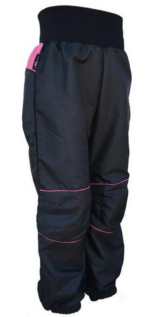 86786704dc9 Dětské šusťákové kalhoty – černo-malinové