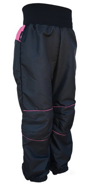 5e5003fb003 Dětské šusťákové kalhoty – černo-malinové