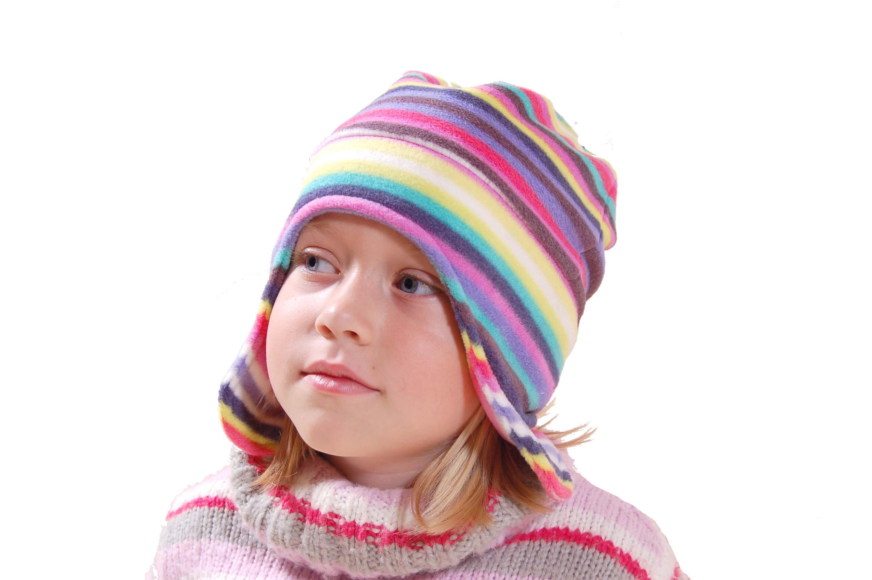Čepice dívčí fleecová - proužky PIDILIDI fc216281f0