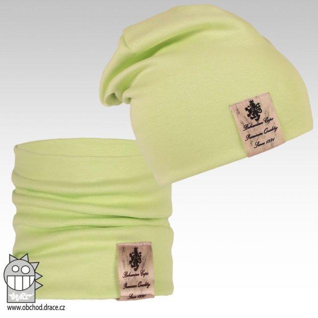 Pastels double set čepice a nákrčníku - vzor 04 (světle zelená kiwi) d9756dc2bf