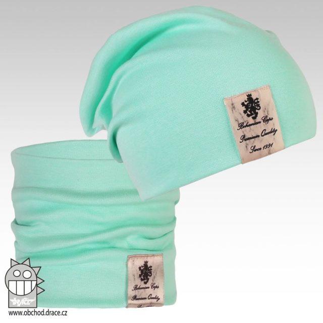 Pastels double set čepice a nákrčníku - vzor 05 (světle zelená) cc9e008941