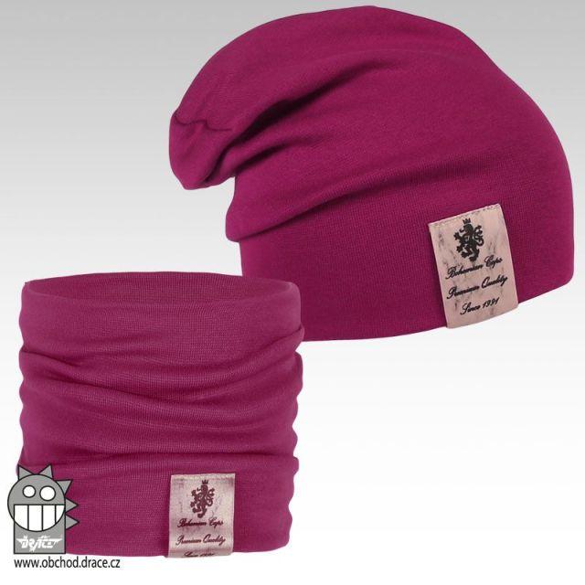 Pastels double set čepice a nákrčníku - vzor 14 (fuchsie) 113c7c8e6c
