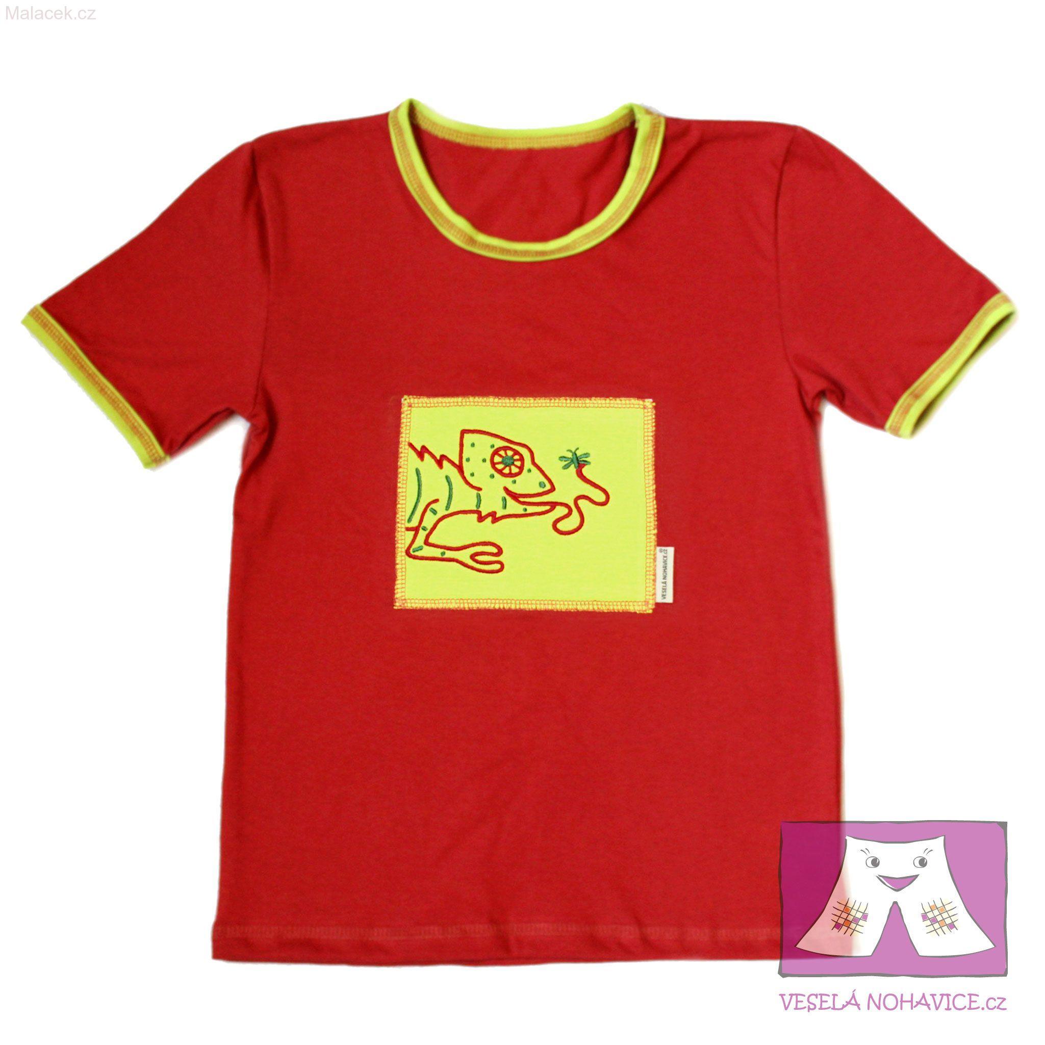 a66a3df9514 Rezavé tričko s krátkým rukávem - výšivka Chameleon